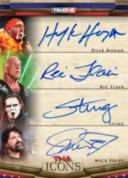 2010 TNA Icons Hulk Hogan Ric Flair Sting Triple Auto