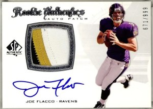 2008 UD SP Authentic Joe Flacco Rookie Authentics Patch Autograph Card