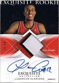 2006/07 Upper Deck Exquisite LaMarcus Aldridge Jersey Autograph Rookie RC Card