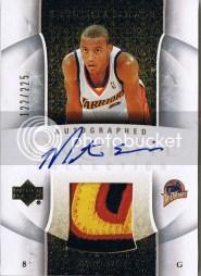 2005/06 Monta Ellis Upper Deck Exquisite Autograph Jersey Rookie RC Card