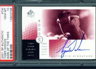2001 SP Authentic Tiger Woods Sign of the Times Augusta Autograph #/65