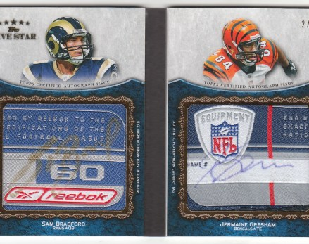 2010 Topps Five Star Sam Bradford Jermaine Gresham Autograph Laundry Tag Book