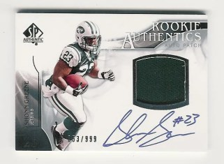 2009 Upper Deck UD SP Authentic Shonn Greene Auto Jersey RC