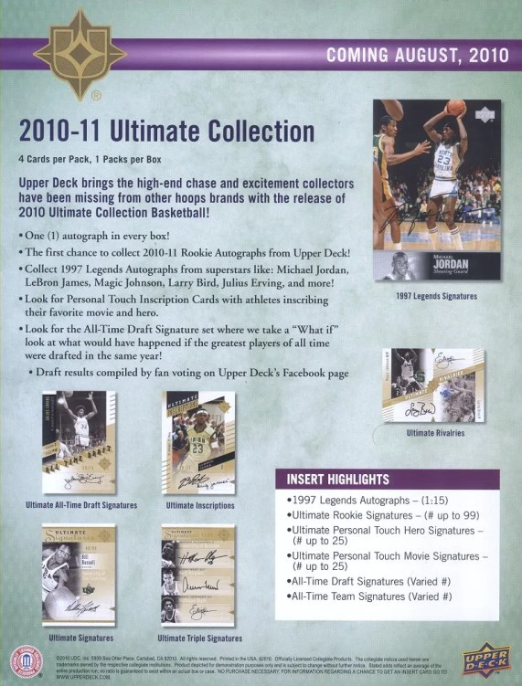 2010/11 UD Ultimate Collection Basketball Sell Sheet