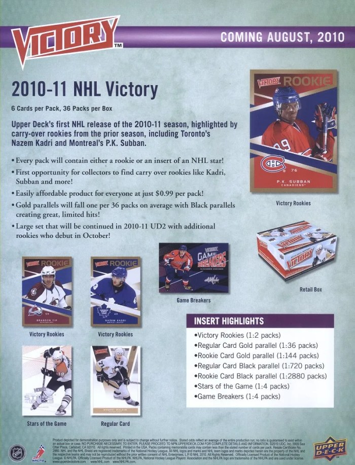 2010/11 Upper Deck Victory Hockey Sell Sheet