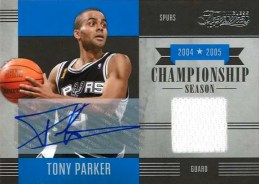 2010-11 Panini Timeless Treasures Tony Parker Championship Season Jersey Autograph Card