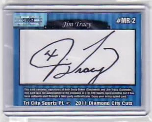 2011 Tri-City Sports Jim Tracy Manager Rivals Dual Cut Autograph