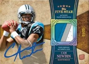 2011 Topps Five Star Cam Newton Patch Autograph RC