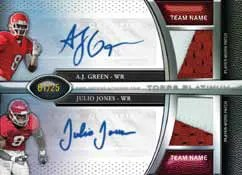 2011 Topps Platinum AJ Green Julio Jones Dual Autograph Patch Card