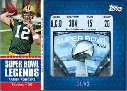 2011 Topps Super Bowl Legends Aaron Rodgers Ticket Stub