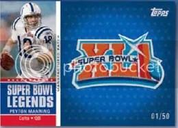2011 Topps Peyton Manning Super Bowl XLI Manufactured Patch Card