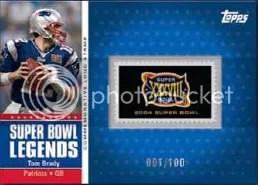 2011 Topps Tom Brady Super Bowl Logo Stamp Card
