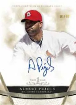 2011 Topps Top Tier Albert Pujols Autograph Gold Parallel Card