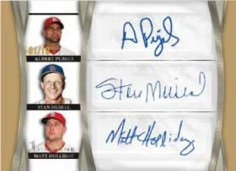 2011 Topps Tier One Pujols Musial Holliday Triple Autograph Card