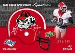 2011 Upper Deck Sweet Spot AJ Green Autograph Helmet Variation Card