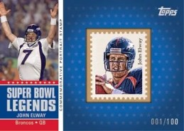 2011 Topps John Elway Super Bowl Legends Portrait Stamp Card