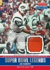2011 Topps Super Bowl Legends Joe Namath Relic Card