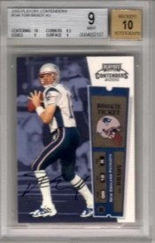 2000 Playoff Contenders Tom Brady Autograph RC BGS 9