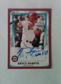 2011 Bowman Red Bryce Harper Autograph 2/5