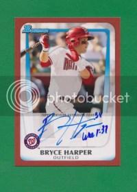2011 Bowman Bryce Harper Red Auto 4/5