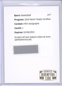 2011 Panini HRX Video Card Kobe Bryant Autograph