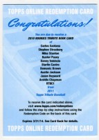 2011 Topps Tribute Rookies Book Card Redemption