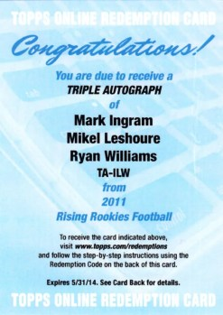 2011 Topps Rising Rookies Triple Autograph