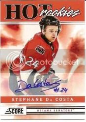 2011-12 Score Hot Rookies Autograph Auto Stephane Da Costa
