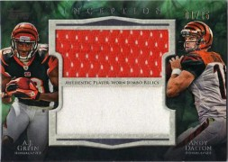 2011 Inception AJ Green Andy Dalton Dual Jumbo Jersey Card /15