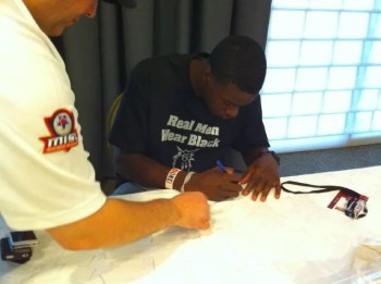 A.J. Green Signing Autographs Bengals Rookie Premiere Photo Shoot