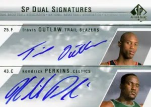 2003-04 Upper Deck SP Authentic Dual Signatures Travis Outlas Kendrick Perkins Autograph Card