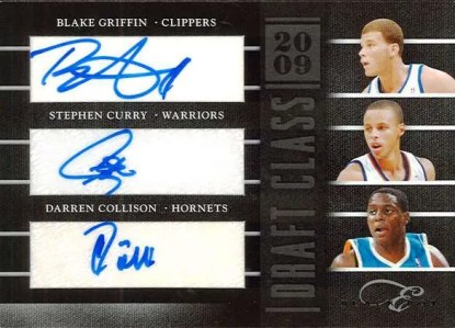 2010-11 Panini Black Box Elite Griffin - Curry - Collison Draft Class Triple Autograph