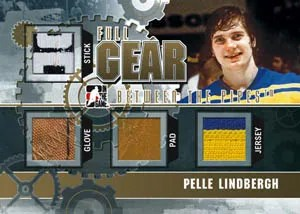 2010/11 ITG Between The Pipes Full Gear Pelle Lindbergh Triple Jersey Pad Glove Card
