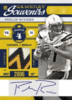 2011 Timeless Treasures Gameday Souvenirs Philip Rivers Prime Jersey Autograph Card
