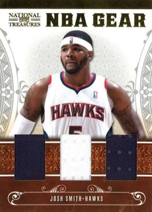 2010-11 Panini National Treasures Josh Smith NBA Gear Trio Jersey Card