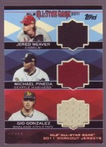 2011 Topps All-Star Triple Relic Jared Weaver Michael Pineda Gio Gonzalez