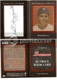 2011 Bowman Phil Rizzuto Buy Back Cut Autograph Book