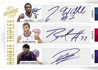 2010-11 Panini Season Update John Wall Blake Griffin DeMarcus Cousins Triple Autograph Card