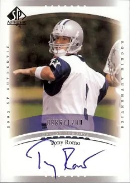 2003 SP Athentic Autograph Future Watch RC Tony Romo Card