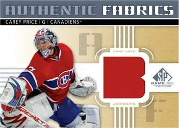 2011-12 Upper Deck SP Game Used Hockey Authentic Fabrics Letter Variation Gold Carey Price Jersey Card