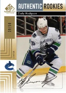 2011-12 Upper Deck SP Game Used Authentic SP Autograph Rookies Cody Hodgson Gold #/50