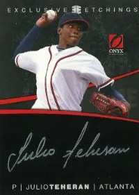 2012 Onyx Exclusive Etchings Julio Teheran Autograph Card