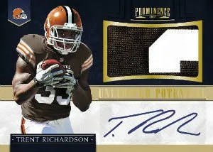 2012 Panini Prominence Trent Richardson Unlimited Potential Autograph Material Card