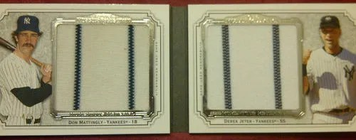 2012 Topps Museum Collection Don Mattingly - Derek Jeter Dual Jumbo Material Book Card
