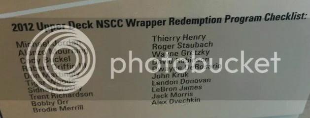 2012 Upper Deck National Wrapper Redemption Checklist