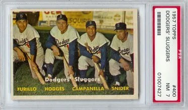 1957 Topps Dodgers Sluggers #400 Graded PSA 7