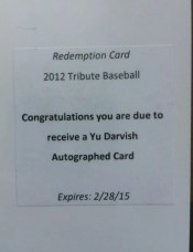 2012 Topps Tribute Yu Darvish Autograph Redmpetion