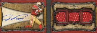 2011 Topps 5 Five Star Vernon Davis Triple Relic Book Auto