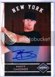 2011 Panini Limited Brett Gardner Autograph Card