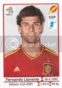 2012 Panini Euro Llorente Sticker